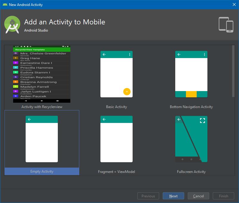 Szablony in Android Studio