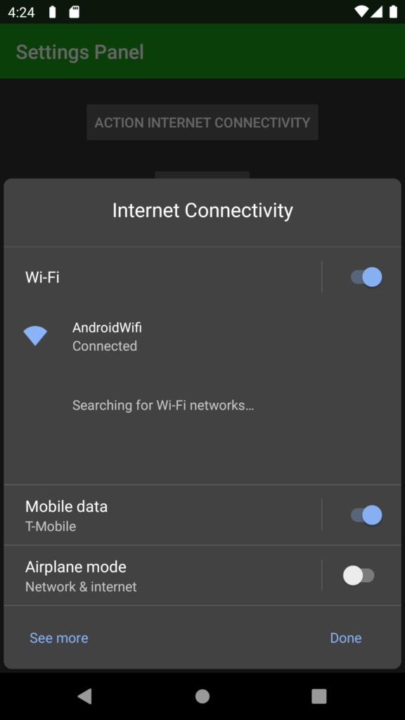 Settings Panel ACTION_INTERNET_CONNECTIVITY