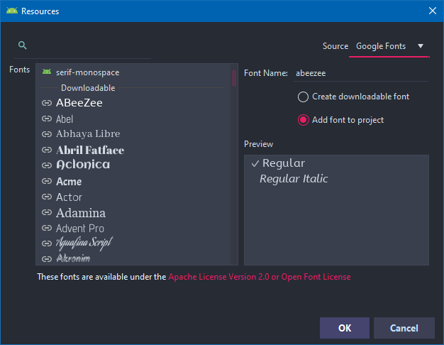 Fonts in Android Studio